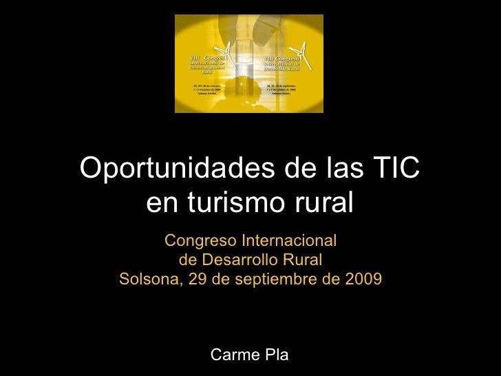 Oportunidades de las TIC     en turismo rural        Congreso Internacional          de Desarrollo Rural   Solsona, 29 de ...
