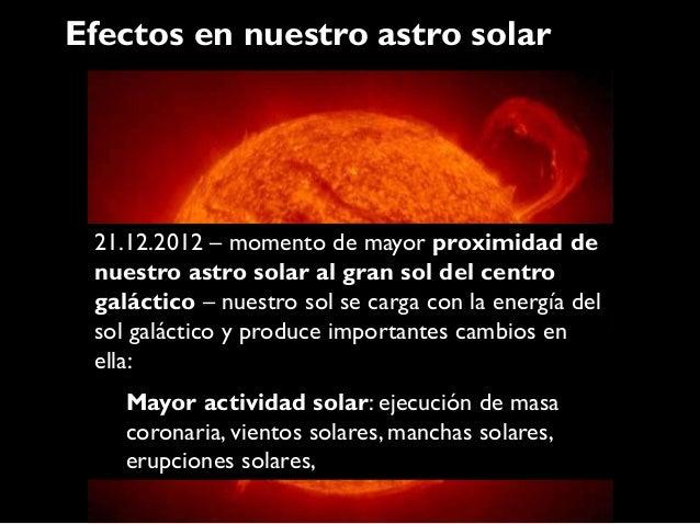 Efectos en nuestro astro solar 21.12.2012 – momento de mayor proximidad de nuestro astro solar al gran sol del centro galá...