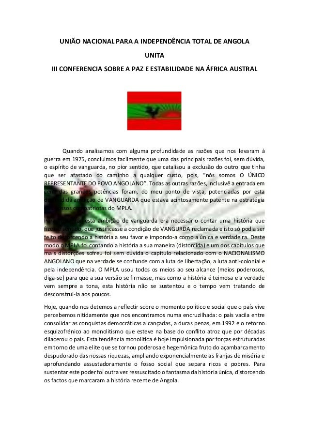 UNIÃO NACIONAL PARA A INDEPENDÊNCIA TOTAL DE ANGOLA UNITA III CONFERENCIA SOBRE A PAZ E ESTABILIDADE NA ÁFRICA AUSTRAL Qua...