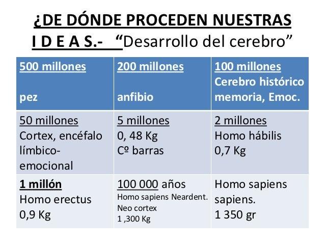 """¿DE DÓNDE PROCEDEN NUESTRAS  I D E A S.- """"Desarrollo del cerebro""""500 millones       200 millones             100 millones ..."""