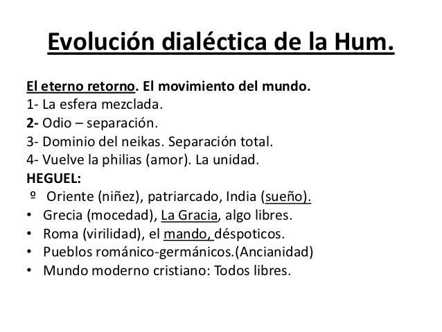 Evolución dialéctica de la Hum.El eterno retorno. El movimiento del mundo.1- La esfera mezclada.2- Odio – separación.3- Do...
