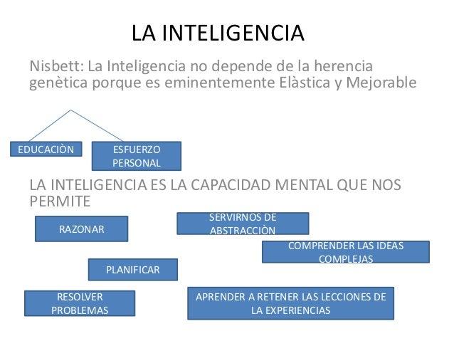 LA INTELIGENCIA Nisbett: La Inteligencia no depende de la herencia genètica porque es eminentemente Elàstica y MejorableED...