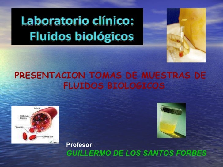 Profesor: GUILLERMO DE LOS SANTOS FORBES PRESENTACION TOMAS DE MUESTRAS DE  FLUIDOS BIOLOGICOS