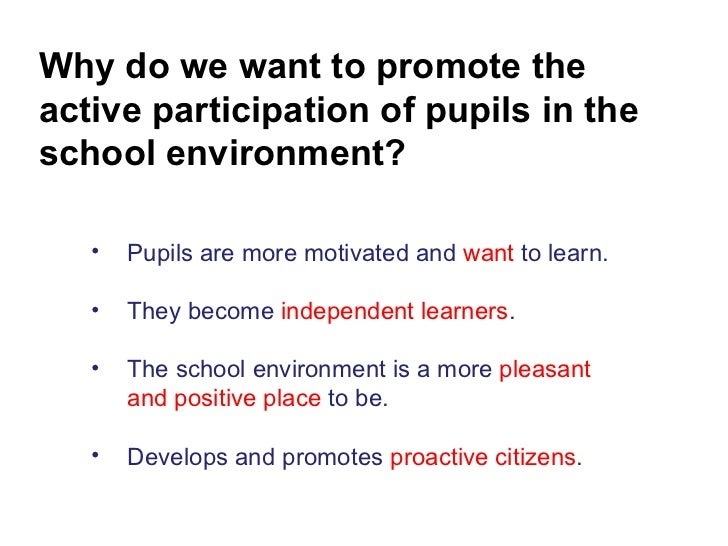 Why do we want to promote the active participation of pupils in the school environment? <ul><li>Pupils are more motivated ...