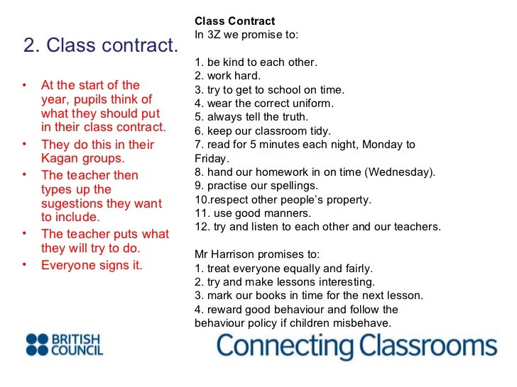 <ul><li>2. Class contract. </li></ul>Class Contract In 3Z we promise to:  1. be kind to each other. 2. work hard. 3. try ...