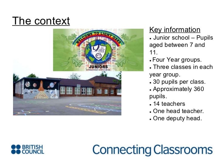 The context Key information ●  Junior school – Pupils aged between 7 and 11. ●  Four Year groups. ●   Three classes in eac...