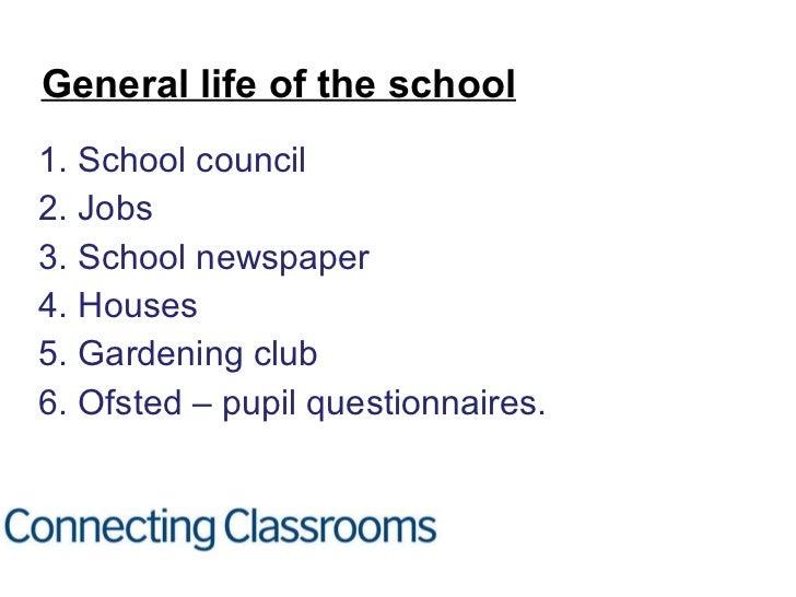 <ul><li>1. School council </li></ul><ul><li>2. Jobs </li></ul><ul><li>3. School newspaper </li></ul><ul><li>4. Houses </li...