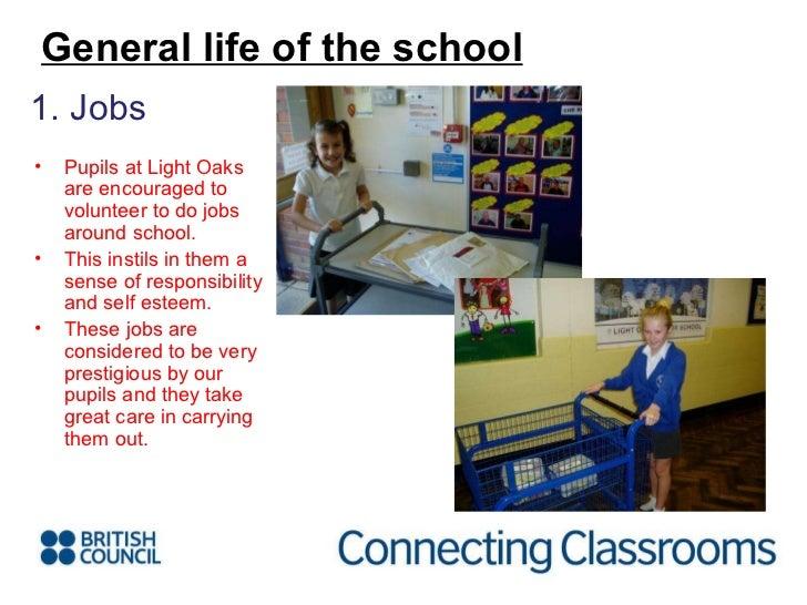 <ul><li>1. Jobs </li></ul>General life of the school <ul><li>Pupils at Light Oaks are encouraged to volunteer to do jobs a...
