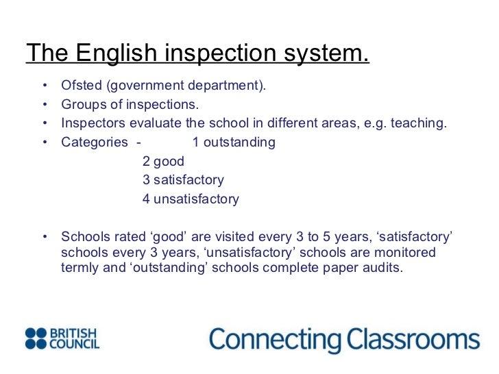 <ul><li>Ofsted (government department). </li></ul><ul><li>Groups of inspections. </li></ul><ul><li>Inspectors evaluate the...