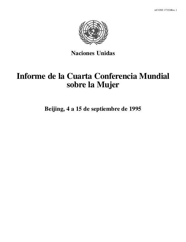 A/CONF.177/20/Rev.1                 Naciones UnidasInforme de la Cuarta Conferencia Mundial              sobre la Mujer   ...