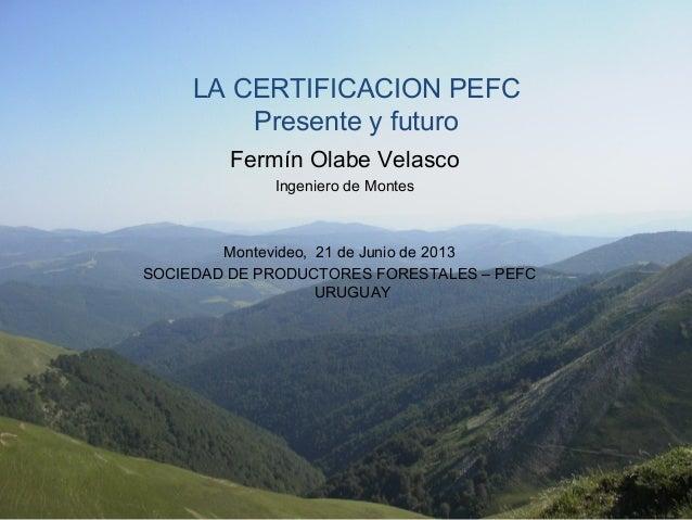 LA CERTIFICACION PEFC Presente y futuro Fermín Olabe Velasco Ingeniero de Montes Montevideo, 21 de Junio de 2013 SOCIEDAD ...