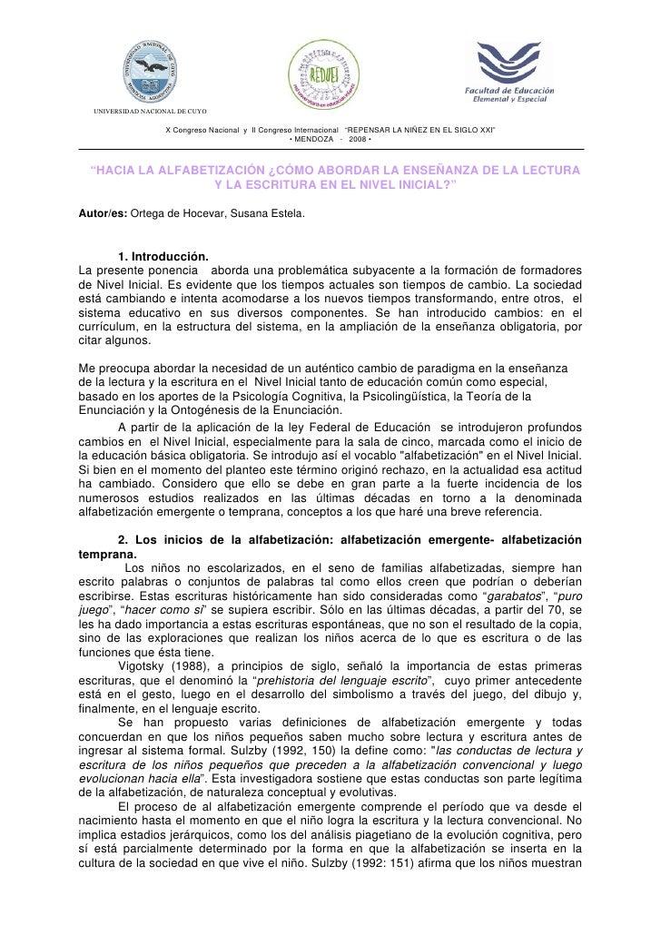 """UNIVERSIDAD NACIONAL DE CUYO                   X Congreso Nacional y II Congreso Internacional """"REPENSAR LA NIÑEZ EN EL SI..."""