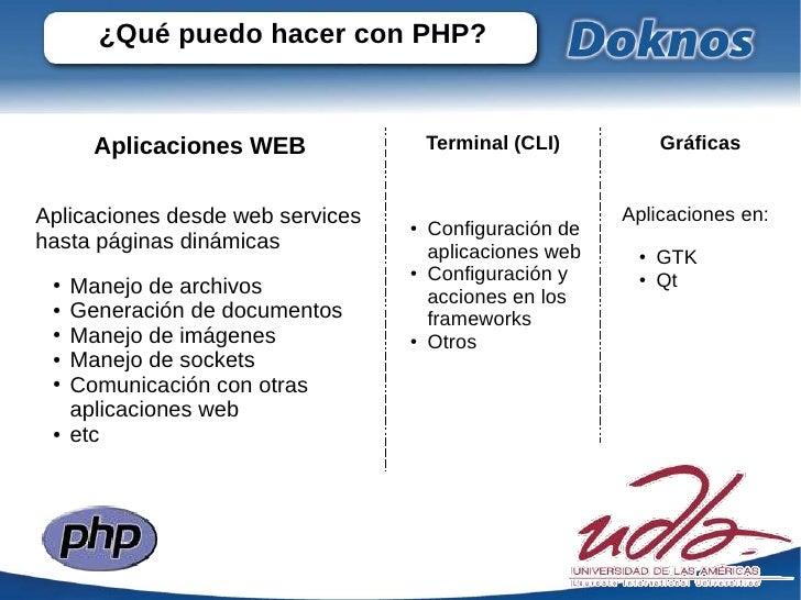 ¿Qué puedo hacer con PHP?       Aplicaciones WEB               Terminal (CLI)          GráficasAplicaciones desde web serv...