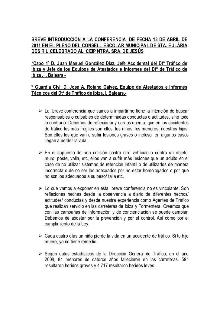 BREVE INTRODUCCION A LA CONFERENCIA DE FECHA 13 DE ABRIL DE2011 EN EL PLENO DEL CONSELL ESCOLAR MUNICIPAL DE STA. EULÀRIAD...