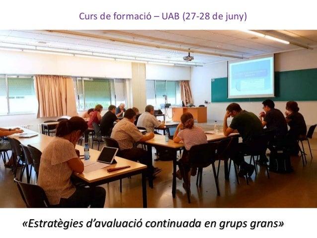 Curs de formació – UAB (27-28 de juny) «Estratègies d'avaluació continuada en grups grans»