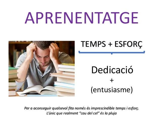TEMPS + ESFORÇ Dedicació APRENENTATGE + (entusiasme) Per a aconseguir qualsevol fita només és imprescindible temps i esfor...