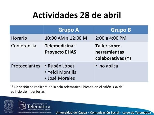 Actividades 28 de abril Grupo A Grupo B Horario 10:00 AM a 12:00 M 2:00 a 4:00 PM Conferencia Telemedicina – Proyecto EHAS...