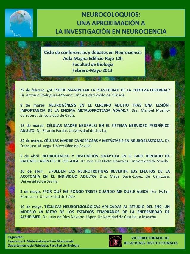 NEUROCOLOQUIOS:                                       UNA APROXIMACIÓN A                                LA INVESTIGACIÓN E...