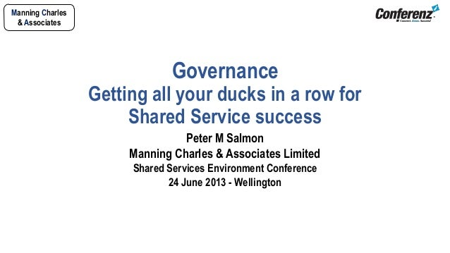 Manning Charles& AssociatesGovernanceGetting all your ducks in a row forShared Service successPeter M SalmonManning Charle...