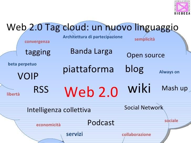 Web 2.0 Tag cloud: un nuovo linguaggio Web 2.0 Social Network piattaforma wiki VOIP Intelligenza collettiva Banda Larga ta...