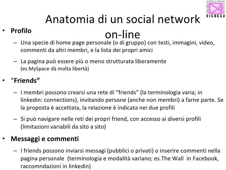 Anatomia di un social network on-line <ul><li>Profilo </li></ul><ul><ul><li>Una specie di home page personale (o di gruppo...