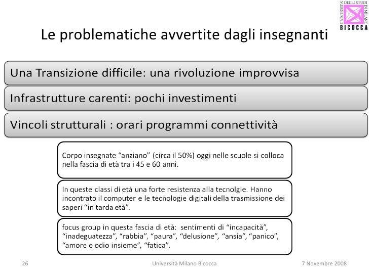 Le problematiche avvertite dagli insegnanti Università Milano Bicocca 7 Novembre 2008