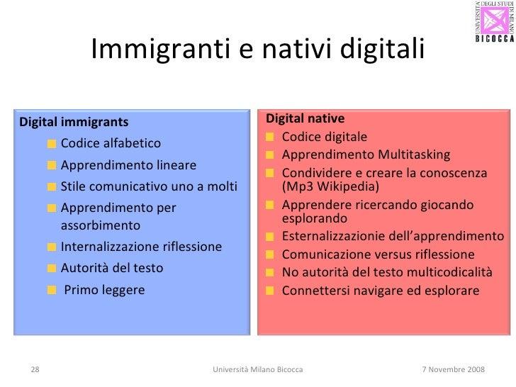 Immigranti e nativi digitali Università Milano Bicocca 7 Novembre 2008 <ul><li>Digital immigrants </li></ul><ul><ul><li>Co...
