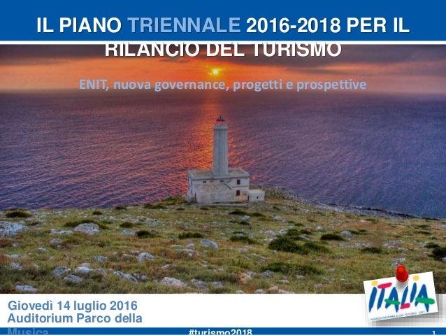 IL PIANO TRIENNALE 2016-2018 PER IL RILANCIO DEL TURISMO ENIT, nuova governance, progetti e prospettive Auditorium Parco d...