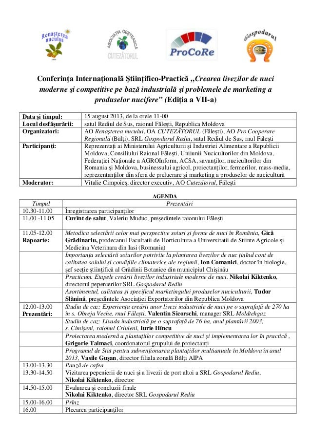 """Conferinţa Internaţională Ştiinţifico-Practică """"Crearea livezilor de nuci moderne şi competitive pe bază industrială şi pr..."""