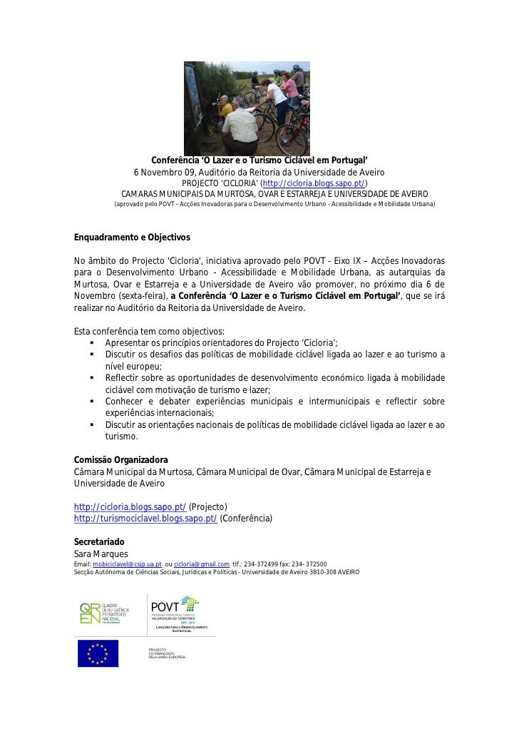 Conferência 'O Lazer e o Turismo Ciclável em Portugal'                     6 Novembro 09, Auditório da Reitoria da Univers...