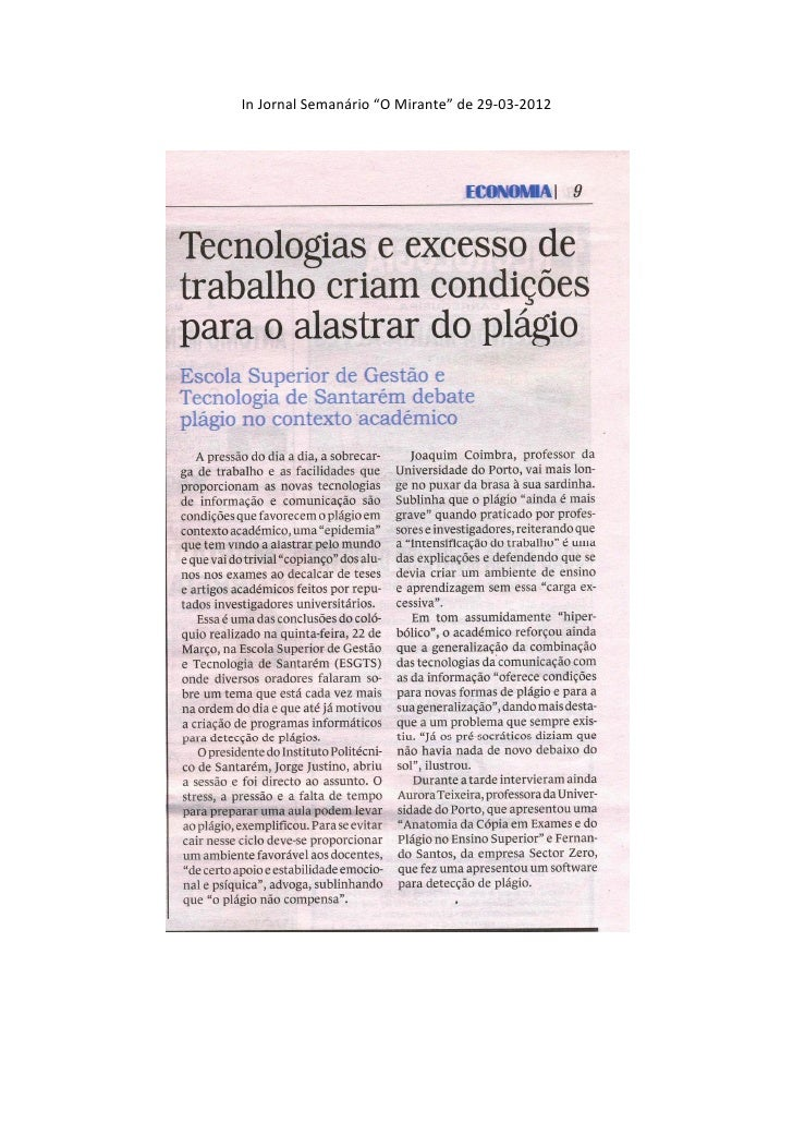 "In Jornal Semanário ""O Mirante"" de 29-03-2012"