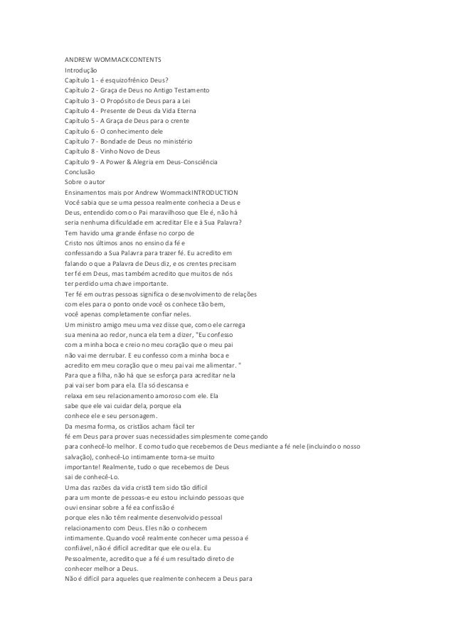 ANDREW WOMMACKCONTENTS Introdução Capítulo 1 - é esquizofrênico Deus? Capítulo 2 - Graça de Deus no Antigo Testamento Capí...