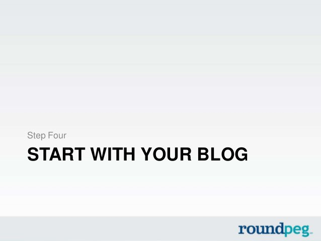 START WITH YOUR BLOGStep Four