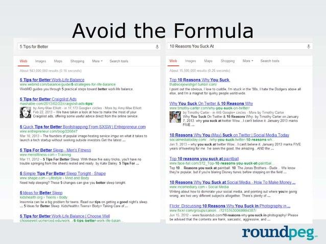 Avoid the Formula