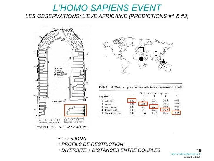 L'HOMO SAPIENS EVENT LES OBSERVATIONS: L'EVE AFRICAINE (PREDICTIONS #1 & #3) <ul><li>147 mtDNA </li></ul><ul><li>PROFILS D...