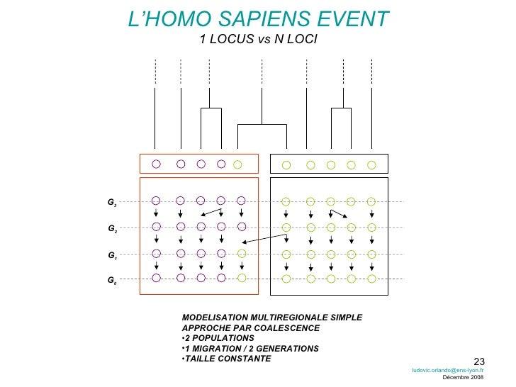 L'HOMO SAPIENS EVENT 1 LOCUS vs N LOCI G 0 G 1 G 2 G 3 <ul><li>MODELISATION MULTIREGIONALE SIMPLE </li></ul><ul><li>APPROC...
