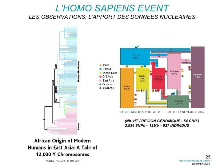 L'HOMO SAPIENS EVENT LES OBSERVATIONS: L'APPORT DES DONNEES NUCLEAIRES (Nb. HT / REGION GENOMIQUE - 54 CHR.) 2,834 SNPs – ...