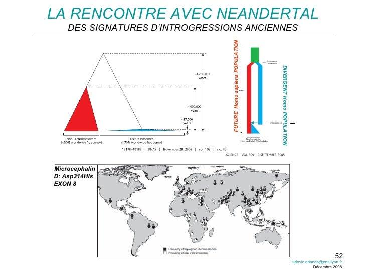 LA RENCONTRE AVEC NEANDERTAL DES SIGNATURES D'INTROGRESSIONS ANCIENNES Microcephalin D: Asp314His EXON 8 [email_address] D...