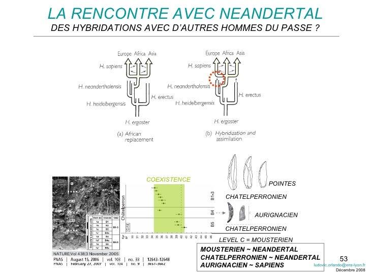 LA RENCONTRE AVEC NEANDERTAL DES HYBRIDATIONS AVEC D'AUTRES HOMMES DU PASSE ? LEVEL C = MOUSTERIEN CHATELPERRONIEN CHATELP...
