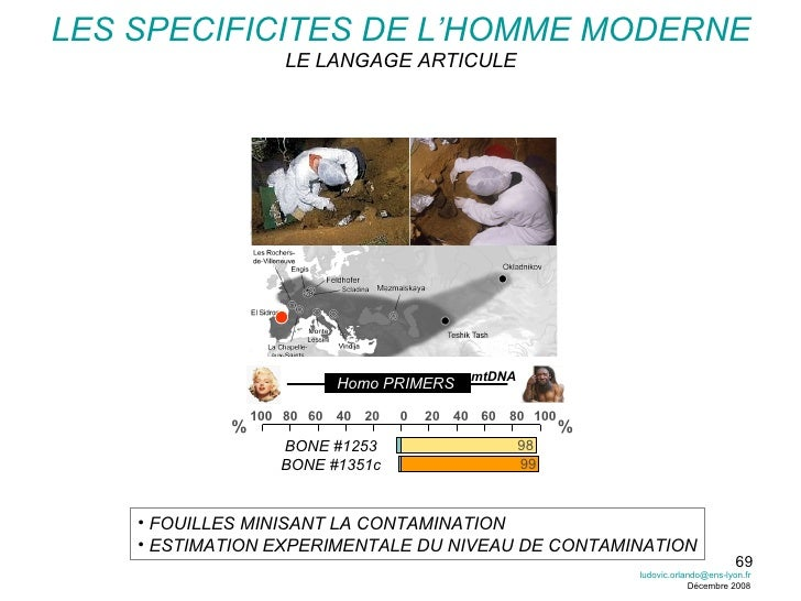 BONE #1253 BONE #1351c mtDNA 98 99 80 20 40 60 100 % % Homo PRIMERS <ul><li>FOUILLES MINISANT LA CONTAMINATION </li></ul><...