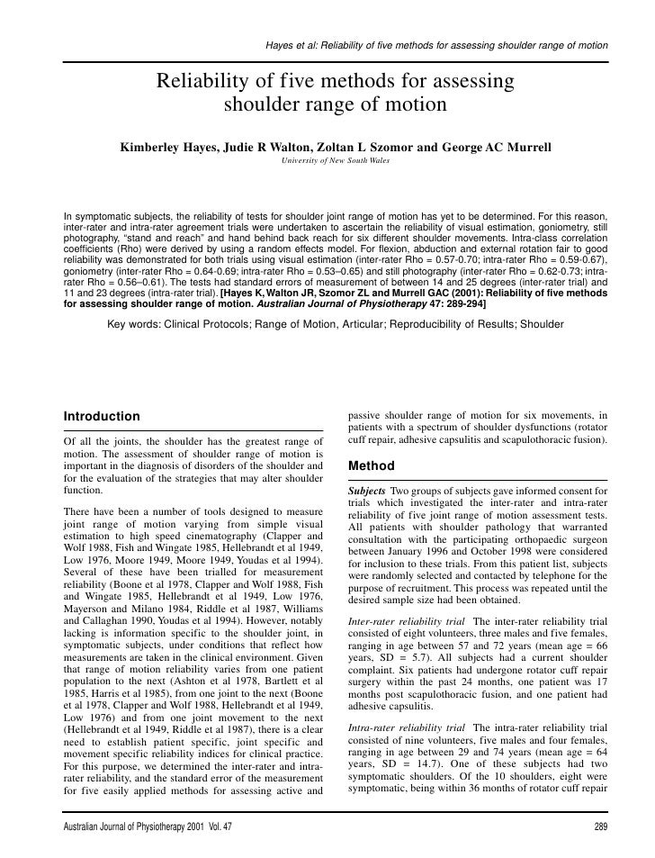 Hayes et al: Reliability of five methods for assessing shoulder range of motion                             Reliability of...