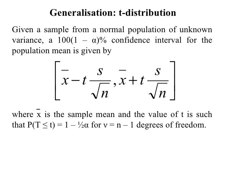 Confidence intervals and the t distribution for T table confidence interval