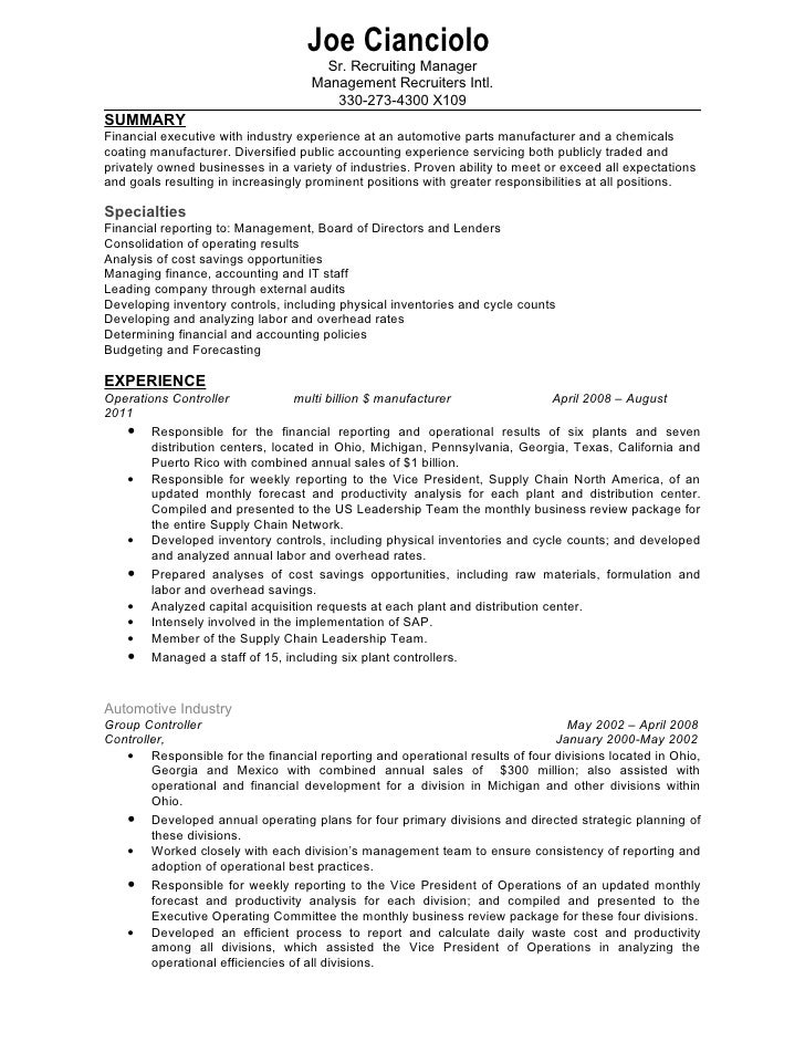 Captivating Captivating Confidential Controller Resume. Joe Cianciolo Sr. .