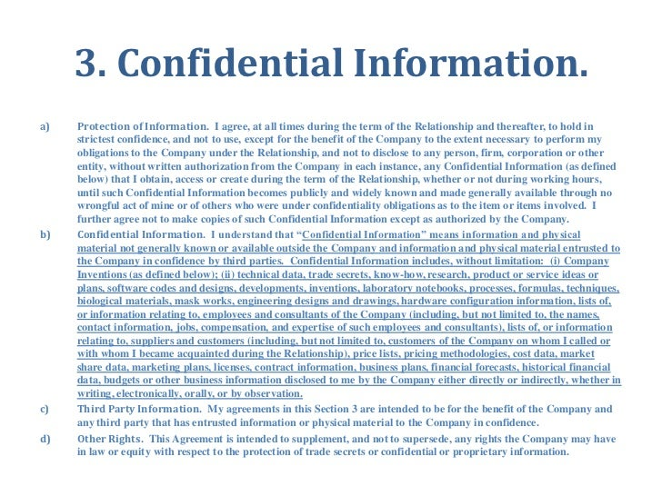 Confidential information and invention assignment agreement for emplo 6 3 confidential platinumwayz