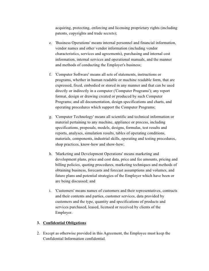Confidentiality agreement – Financial Confidentiality Agreement