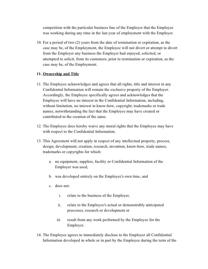 Employment Confidentiality Agreement Basic Confidentiality