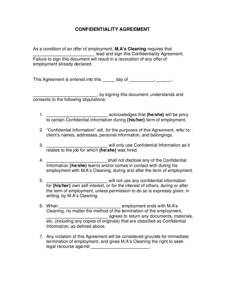 Confidentiality agreement 1 728gcb1321913527 confidentiality agreement confidentiality agreementas a condition of an offer of employment mas cleaning requires that cheaphphosting Choice Image