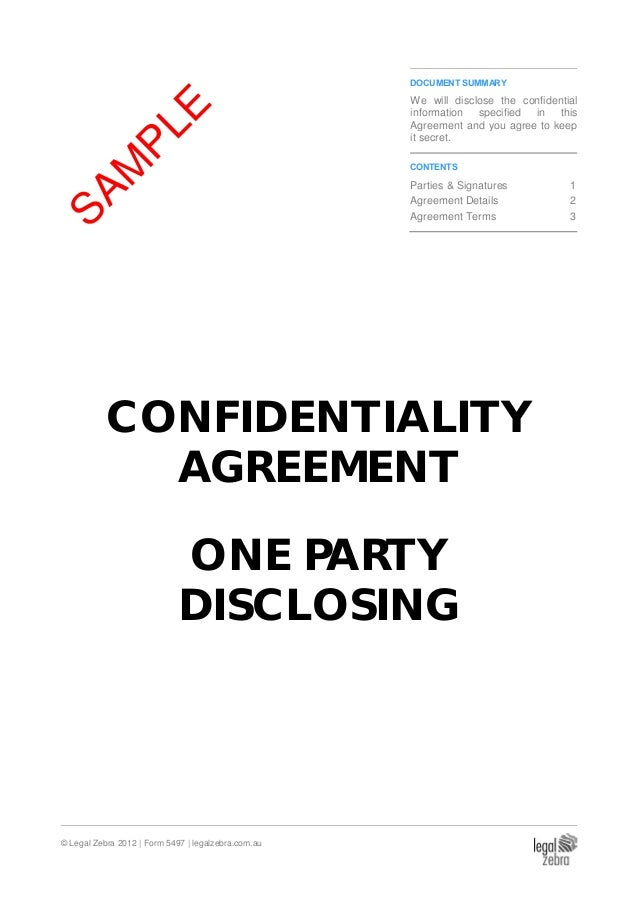Confidentiality Agreement (One Party Disclosing) - Sample
