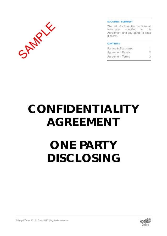 Legal Zebra 2012 | Form 5497 | Legalzebra.com.au DOCUMENT SUMMARY We CONFIDENTIALITY  AGREEMENT | Page ...