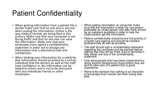 Confidentialty Statement